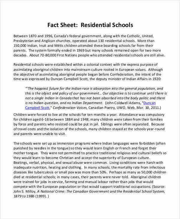 residential school fact sheet