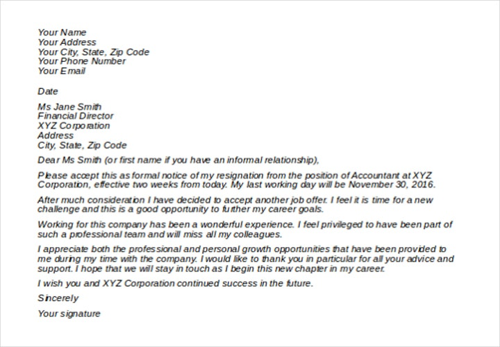 Sample New Job Resignation Letter Template