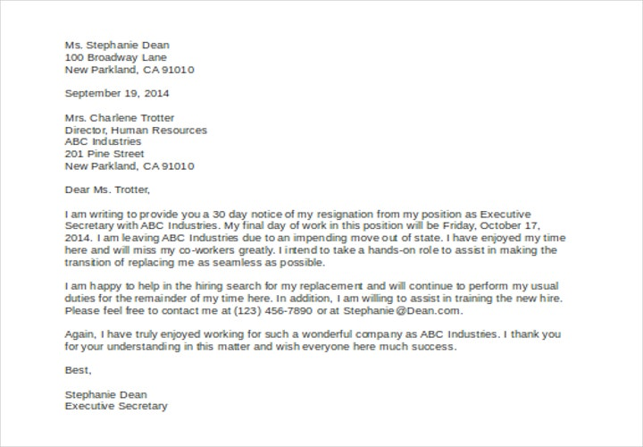 resignation letter 30 days notice