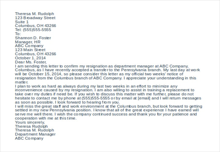 Resignation Letter Due To Changes In The Company Template Sample