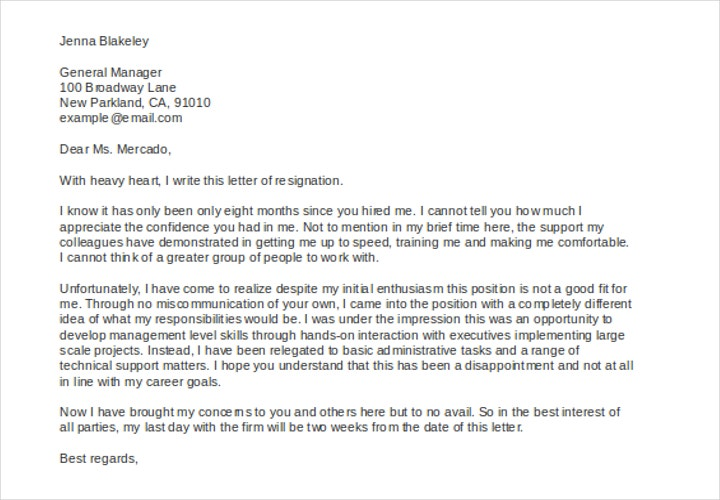 resignation letter due to job not being a good fit