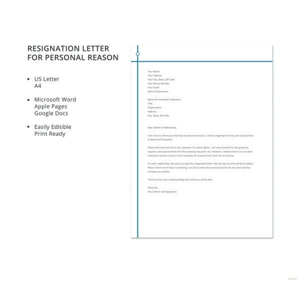 resignation letter for personal reason template