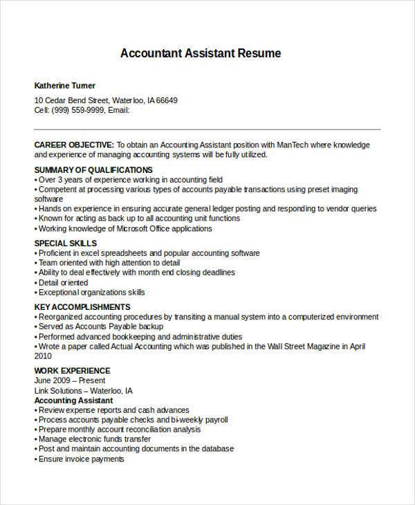 resume format for accountant assistant