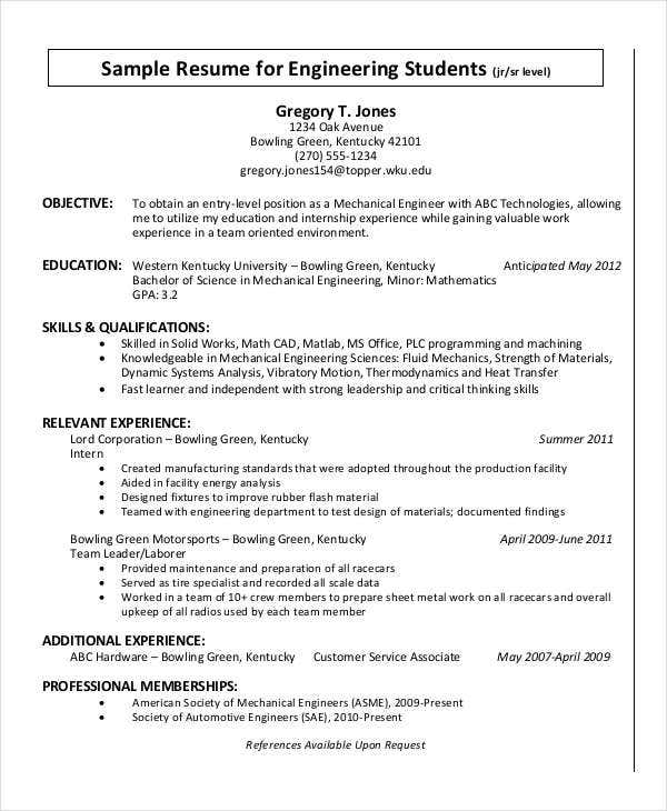 Resume Format For Engineering Student  Resume Formatter