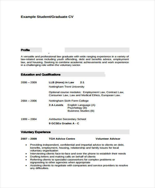 resume format for graduate student