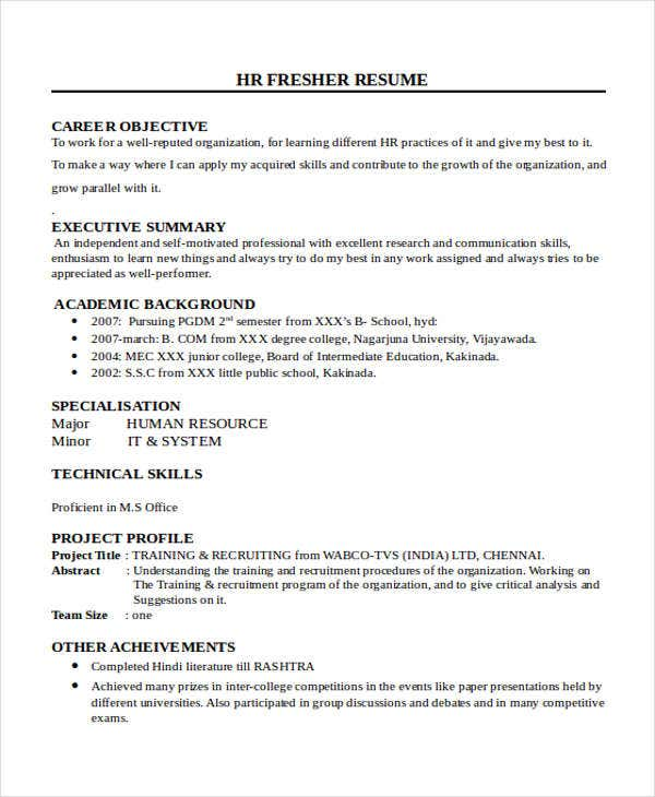 resume format for hr fresher