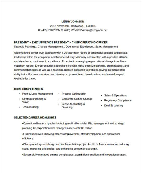 resume format for senior executive