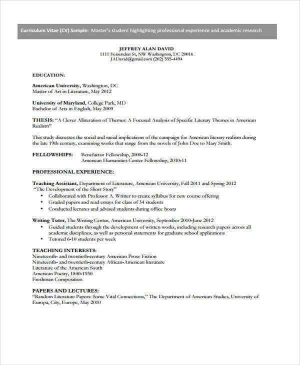 resume format for student example