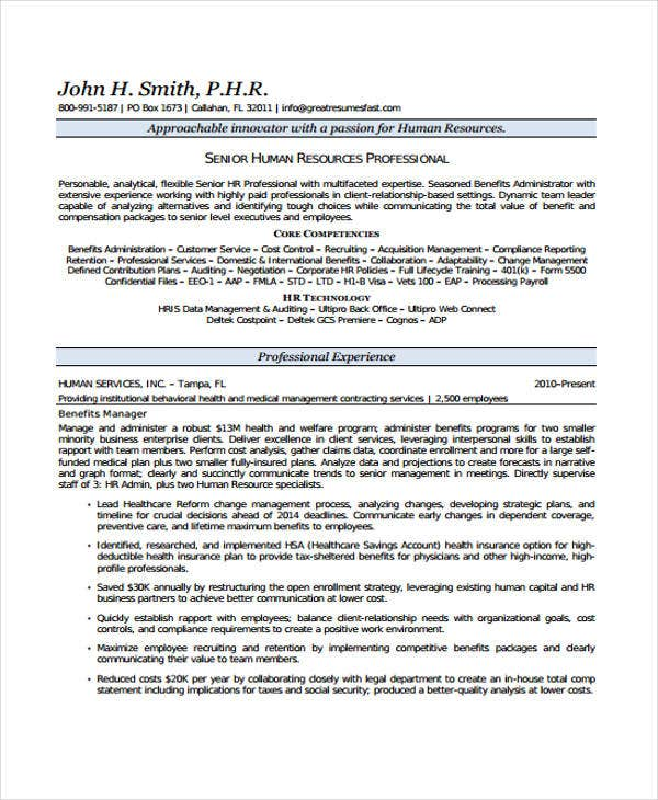 resume for hr senior