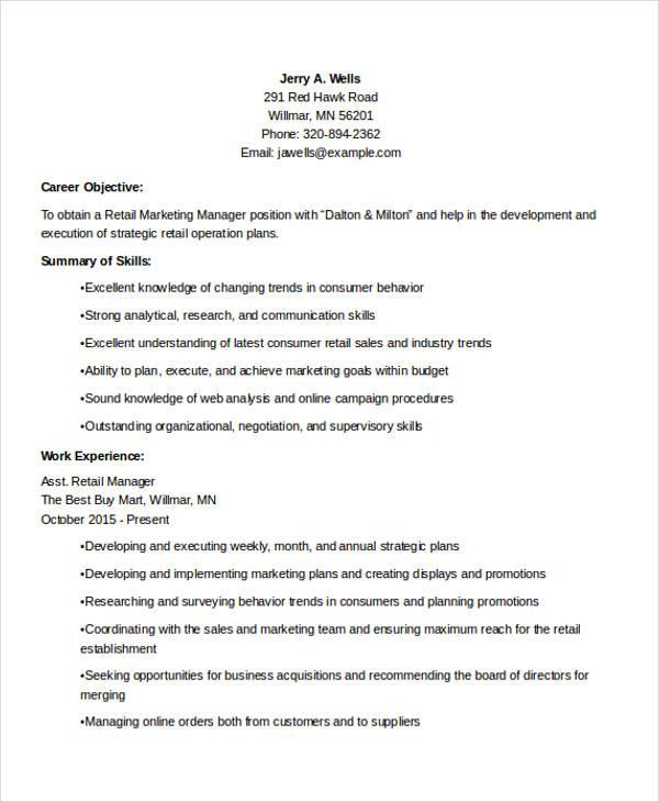 retail marketing manager resume