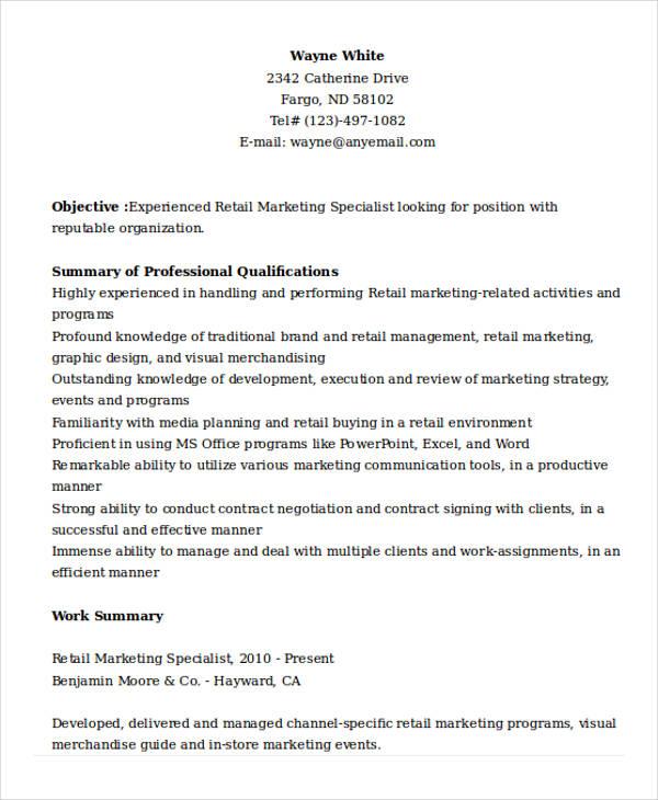 retail marketing specialist resume