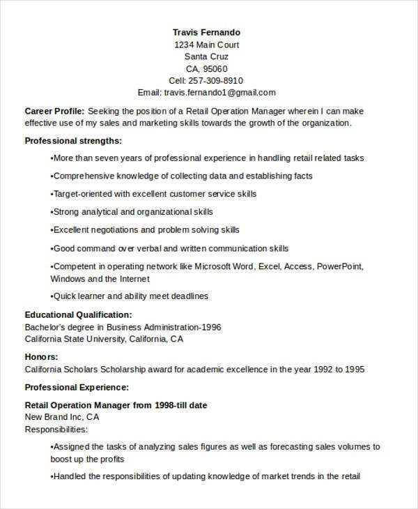 retail manager resume templates free grocery store assistant sample operation operations examples