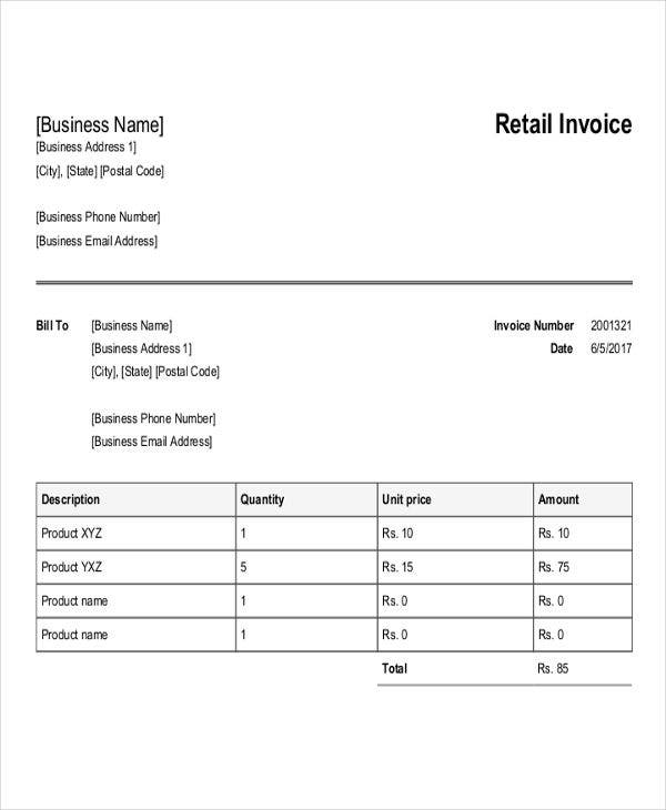 retail purchase invoice