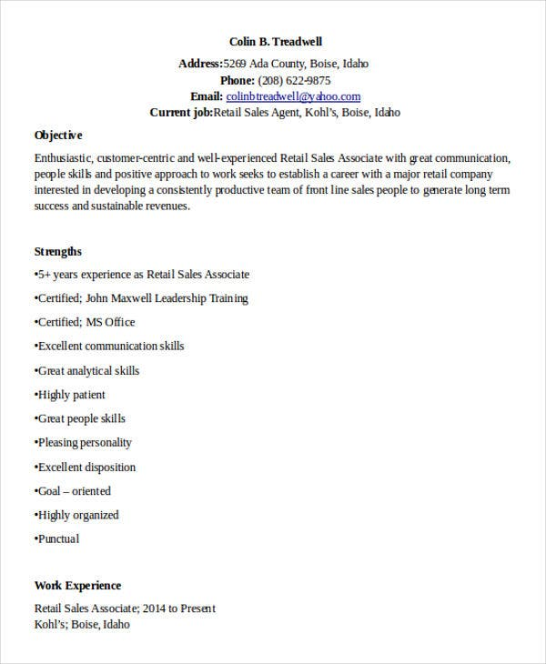 Sample Retail Sales Resume   Free Samples Examples Format