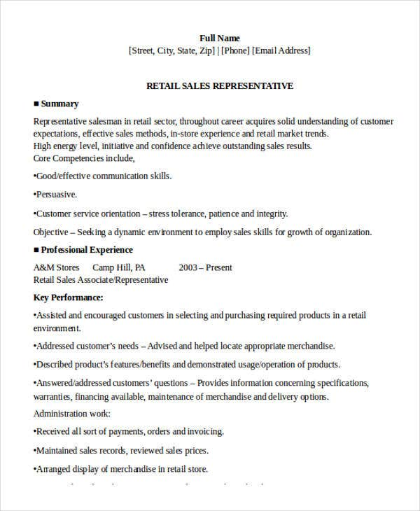 10 Sample Retail Sales Resume Templates Pdf Doc Free Premium