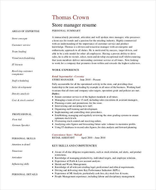 retail store manager resume sample cv sample of retail manager