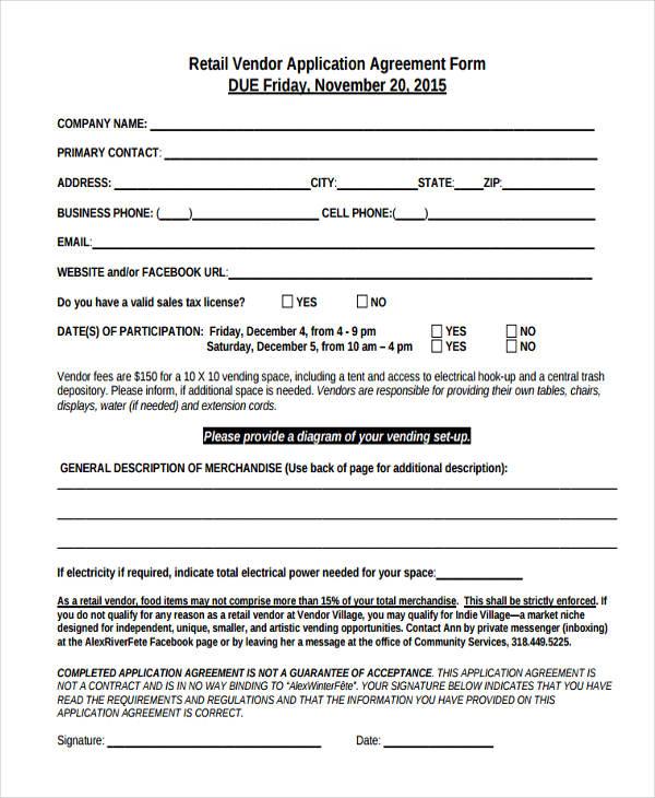 retail vendor agreement