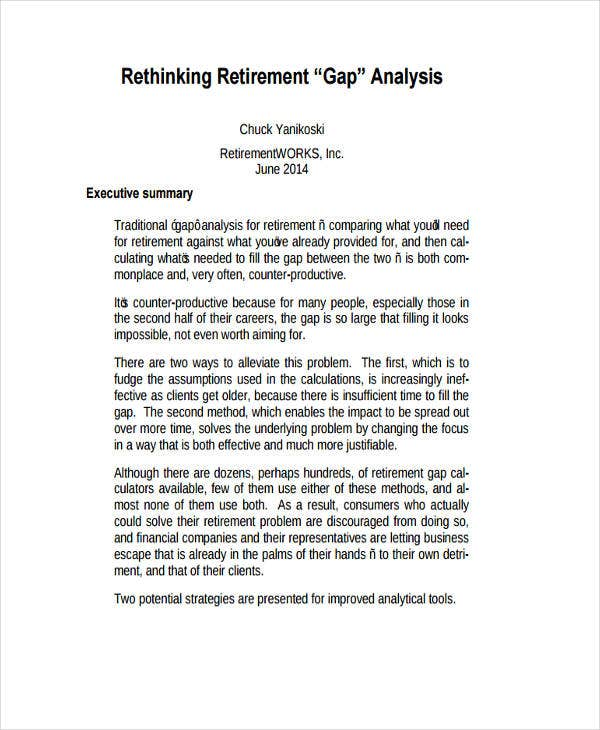 retirement analysis example