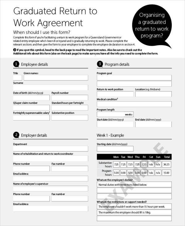 return to work agreement
