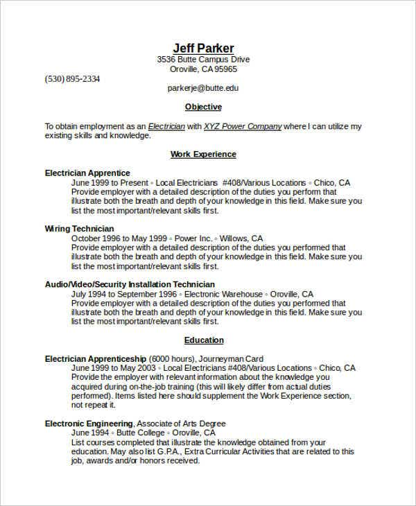 reverse chronological resume sample template word 2007 format download