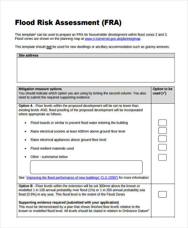 risk assessment form for householder flood