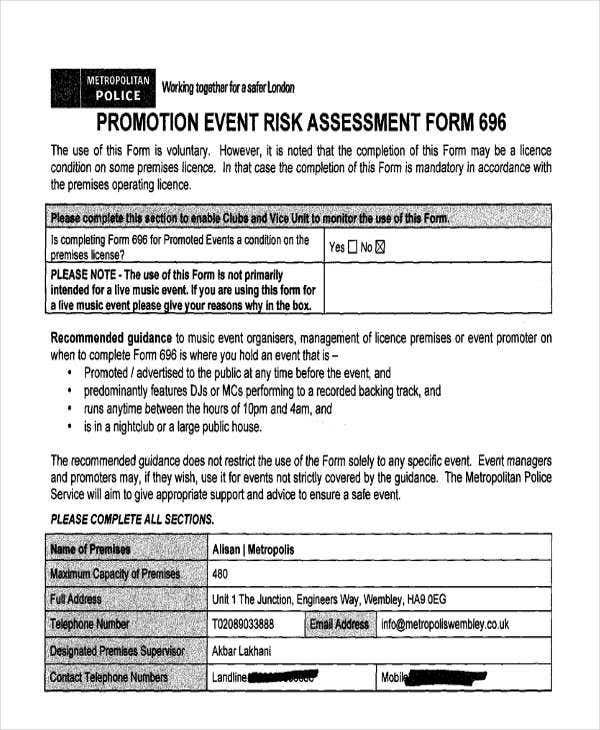 risk assessment form for promotion event