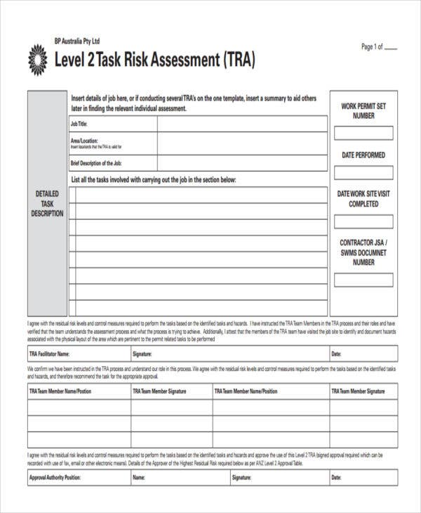 Sample Risk Assessment Risk Assessment For Basic Task  Sample