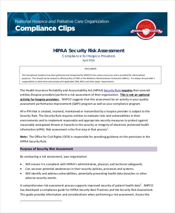 Security Risk Assessment Templates  Free Samples Examples
