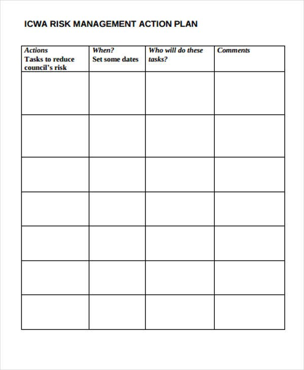 Risk Action Plan Templates  Free Sample Example Format Download