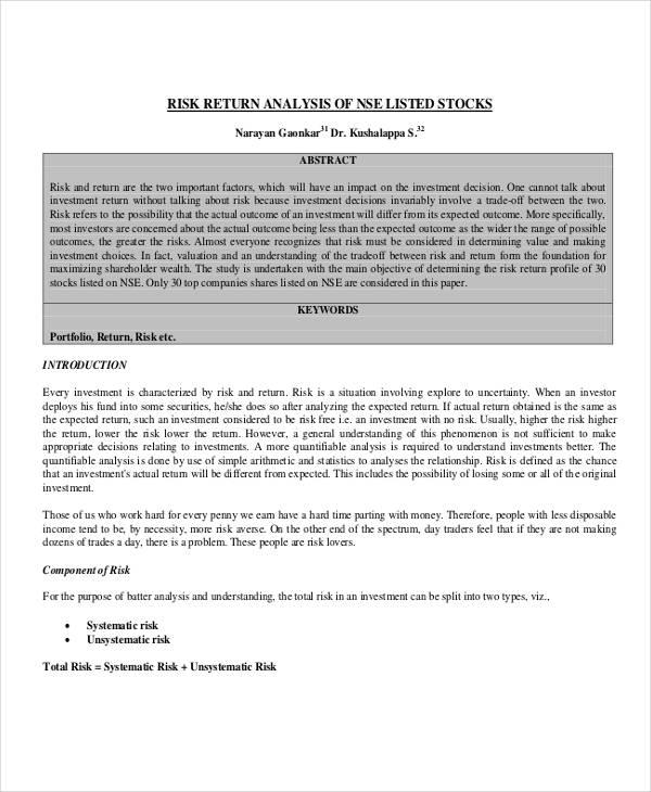 risk return analysis