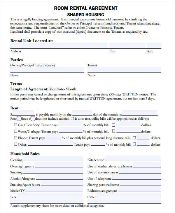 Room Rental Agreement Form  Lease Agreement Form Template