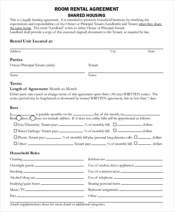 room rental agreement1