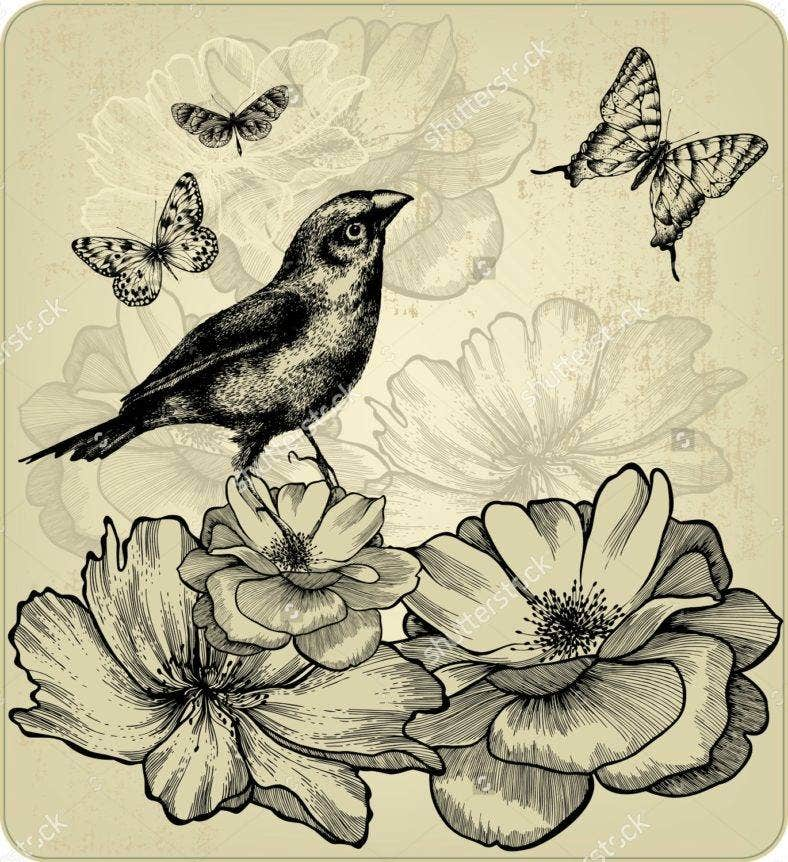 sh-stock-vector-background-with-blooming-roses-birds-and-flying-butterflies-vector-113418097