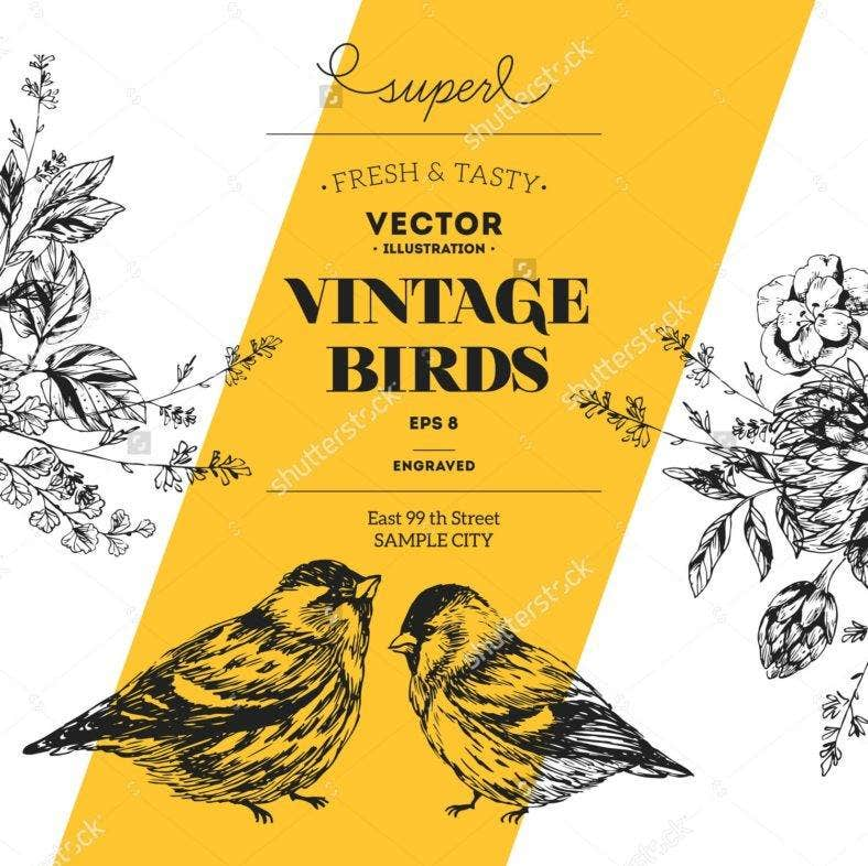 sh stock vector vintage bird design template vector illustration 307551830 788x786