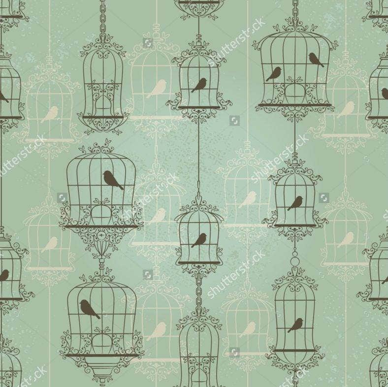 sh stock vector vintage birds and birdcages pattern wallpaper 111693659 788x786