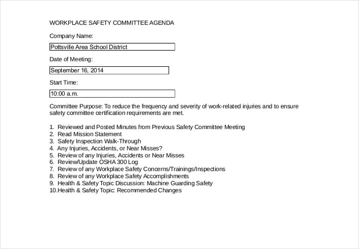 safety committee agenda