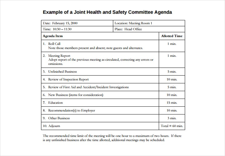 safety committee agenda 1