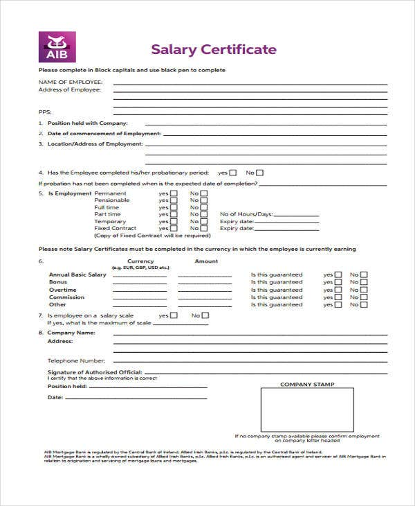 Salary certificate formats 17 free word excel pdf documents salary certificate sample altavistaventures Gallery