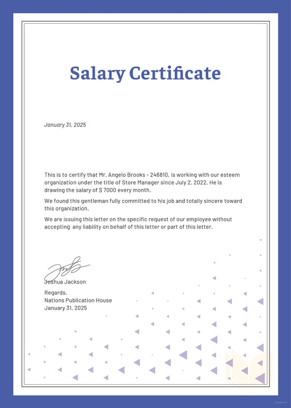 Salary certificate formats 17 free word excel pdf documents salary certificate template altavistaventures Choice Image