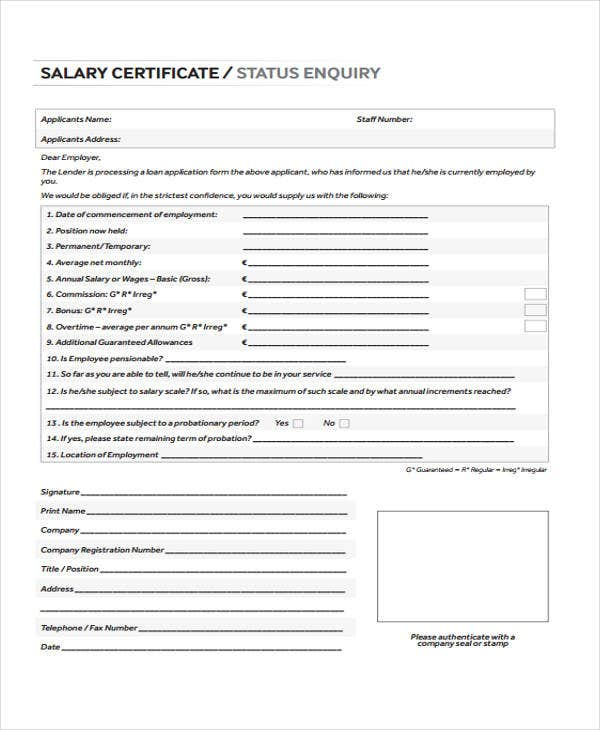 yearly salary certificate