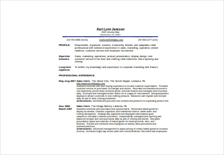 sales associate sample resume
