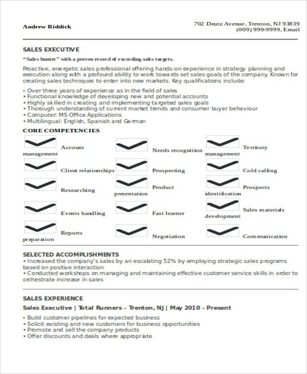 Executive Resumes Sales Executive Resume Sample  Executive