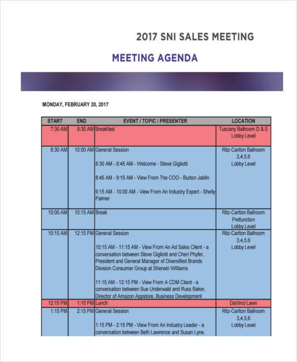 sales meeting agenda example