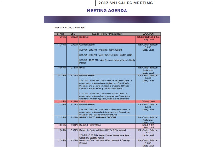 sales meeting agenda