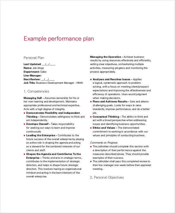 sales performance plan