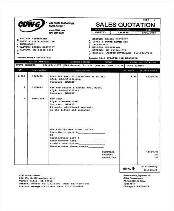 sales quotation example