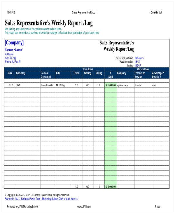 sales representative weekly report1