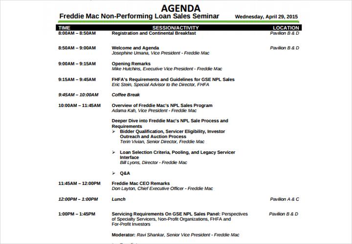 sales seminar agenda