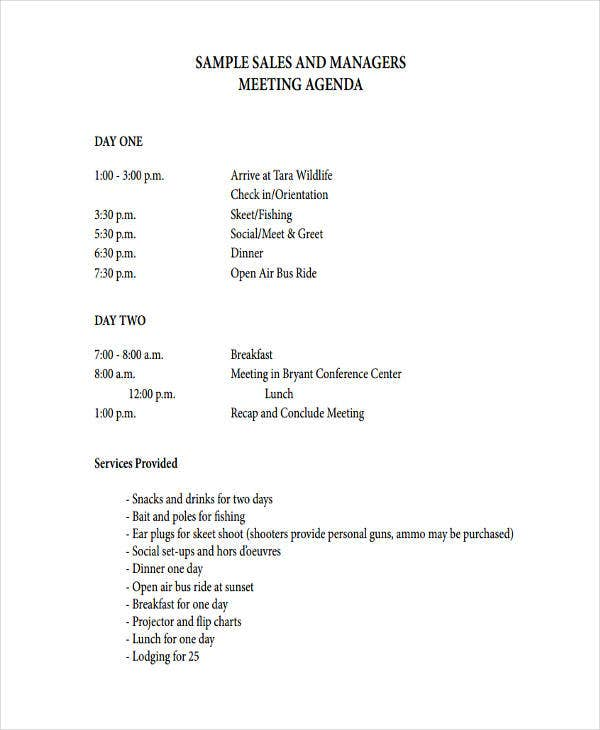 sales and managers meeting agenda