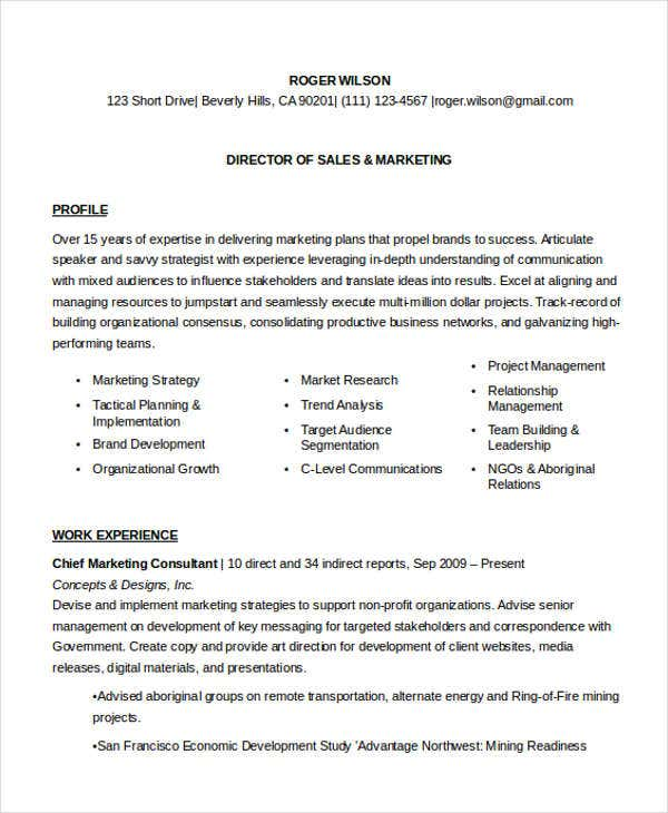 sales and marketing director resume - Marketing Director Resume